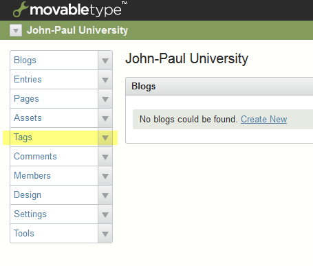 Movable Type main menu