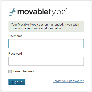 Movable Type Admin Login