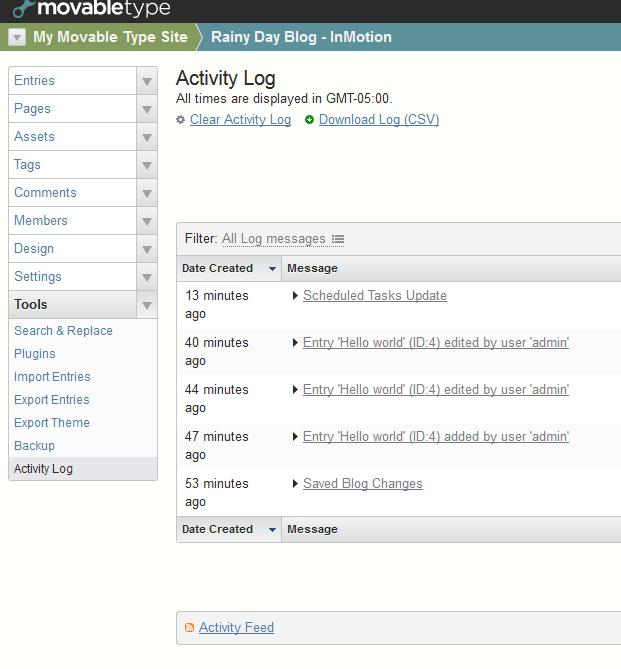 Activity log - main view