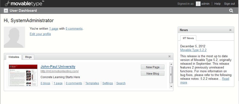 admin dashboard main screen
