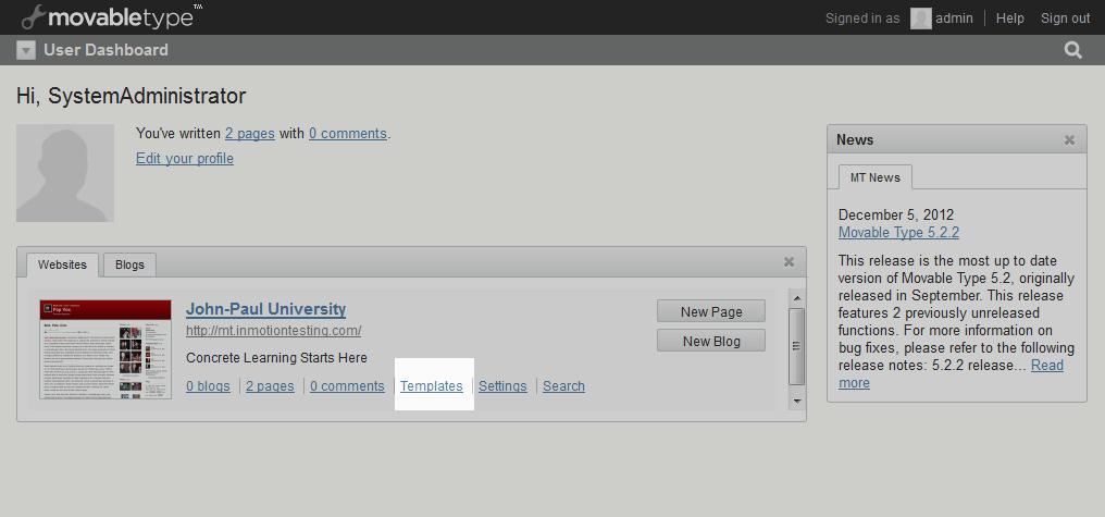 select templates link