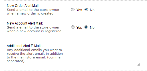 email alert settings