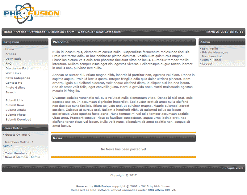 View of introduction changed PHP-Fusion