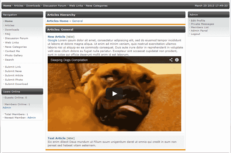 View of PHP-Fusion with youtube iframe