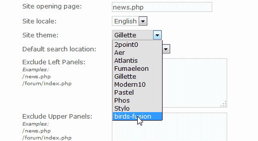 Switch theme PHP-Fusion
