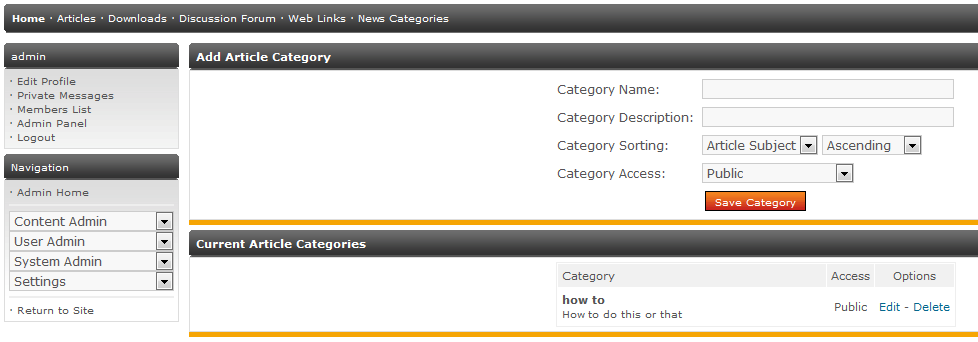 Main section for adding Article Categories