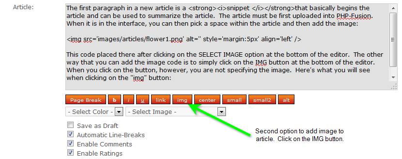 Click on IMG to add image code into article