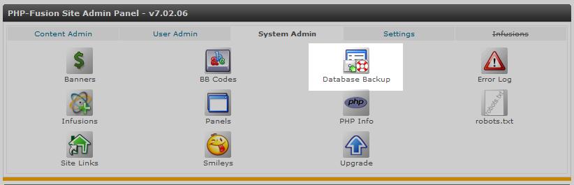 click database backup icon