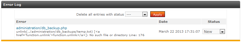 error log list