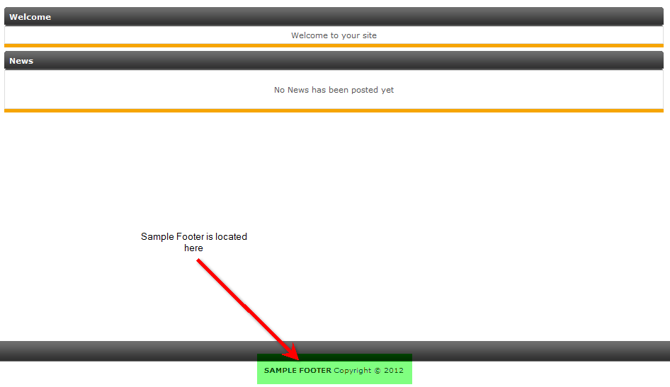 Sample footer is at the bottom of the page