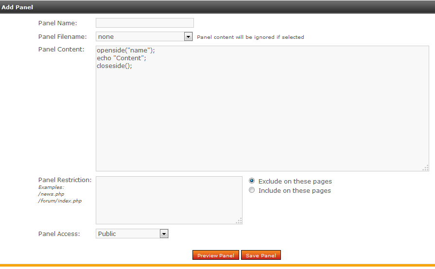 Add New Panel dialog window