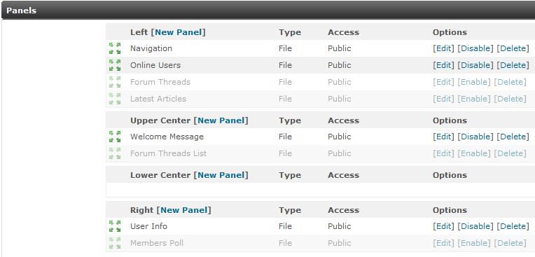 Main Panel menu