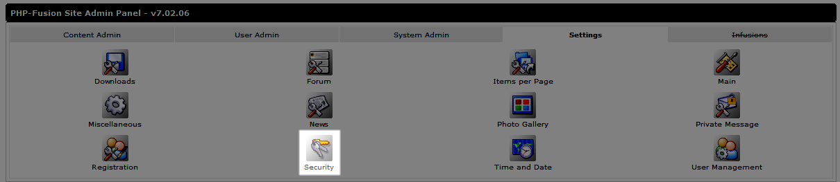 Select the Security icon