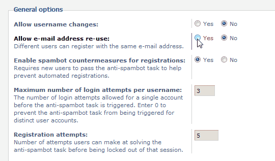Select yes for allow email address reuse phpBB
