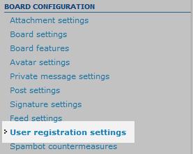 user registration menu