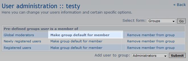 set the default group