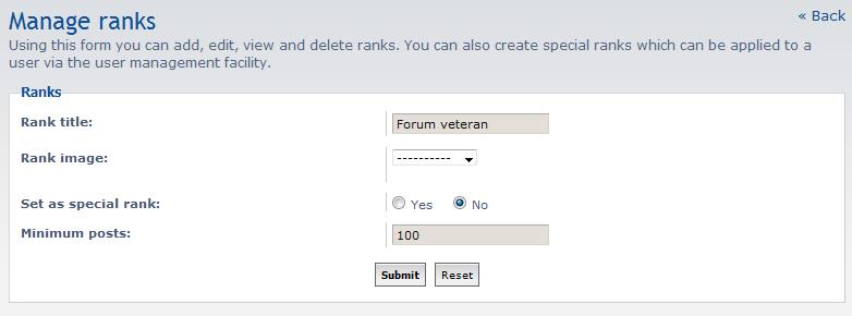 insert rank settings