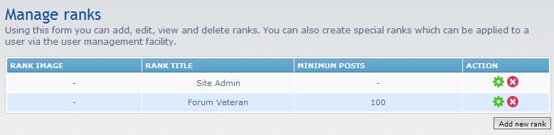 new rank listings