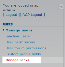 select manage rank from menu