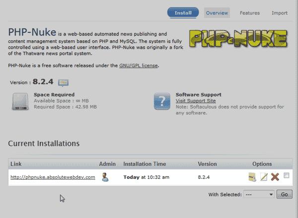Finished install PHP-Nuke Softaculous
