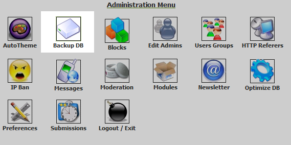 click on backup db in admin menu
