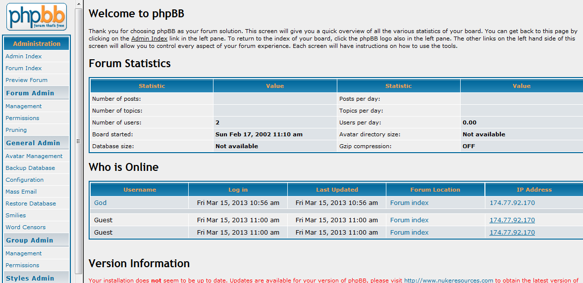 PHPBB Forum management interface