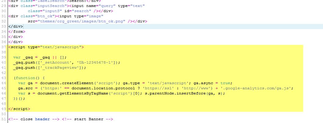 Highlighted code indicates Google Analytics code