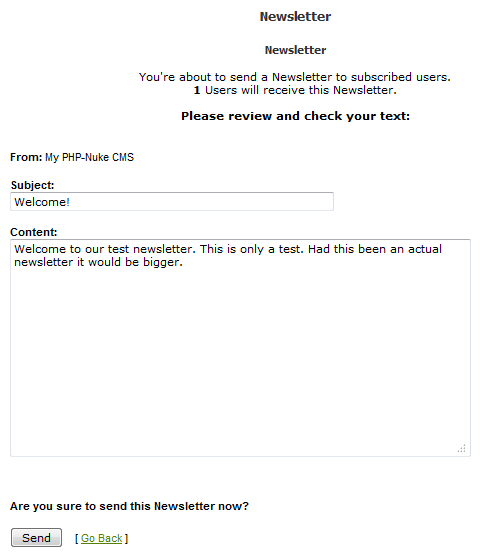 send the newsletter to subscribers