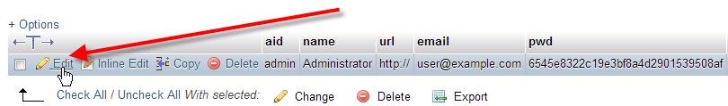 click on edit beside admin user