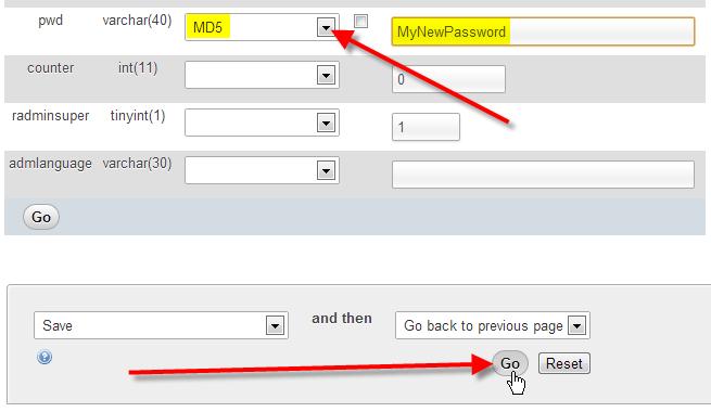 fill in new password click go