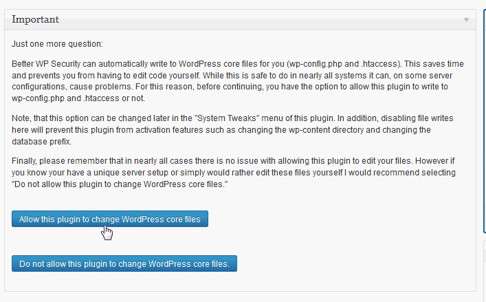 Allow core file changes WordPress Better WP Security plugin