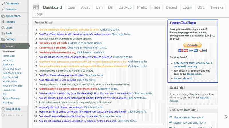 The WordPress Better WP Security plugin Dashboard