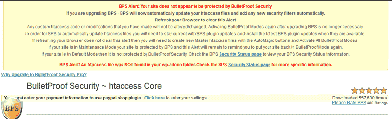 Error message at start of WordPress BulletProof Security Plugin