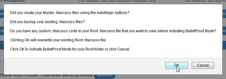 Click OK WordPress BulletProof Security Plugin
