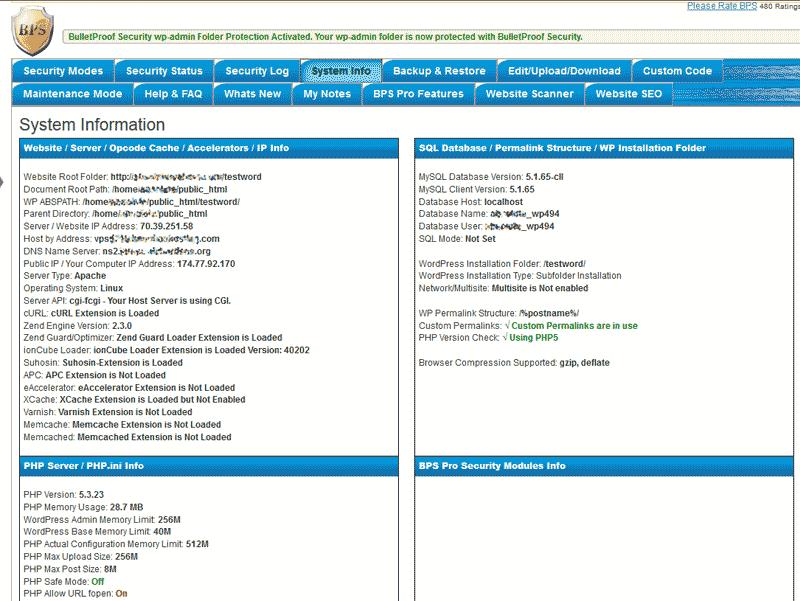 Server Information in the WordPress BulletProof Security Plugin