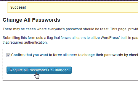 Reguire password change Login Security Solution plugin WordPress