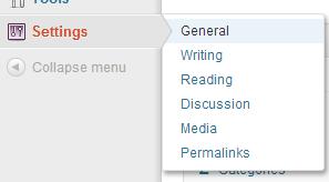 select gerneral menu option