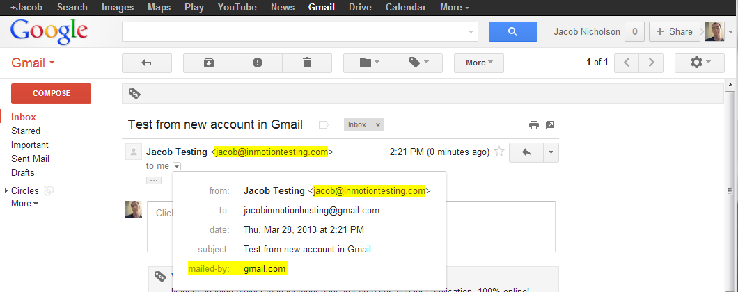 check test email