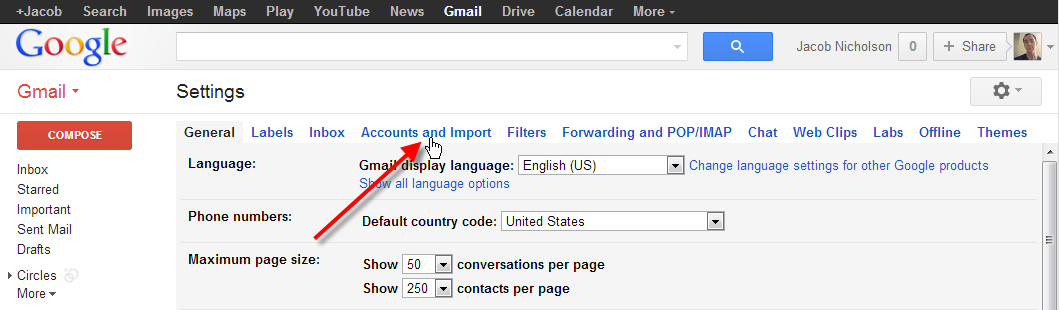 click on accounts and import
