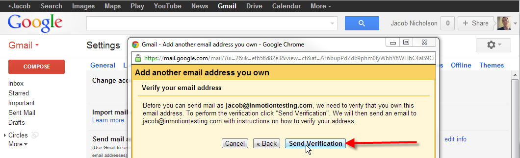 click on send verification