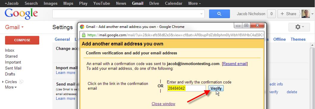 enter confirmation code click verify