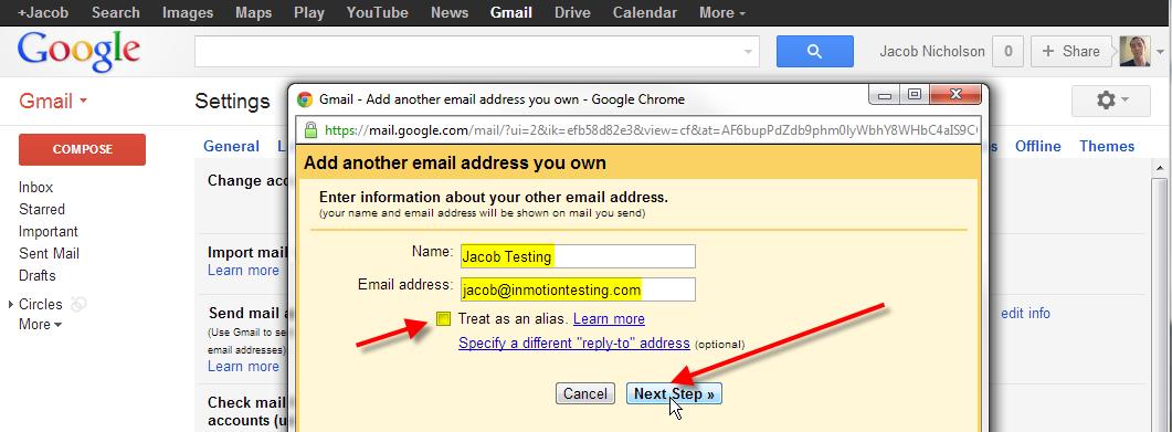 fill in email address un check alias click next step