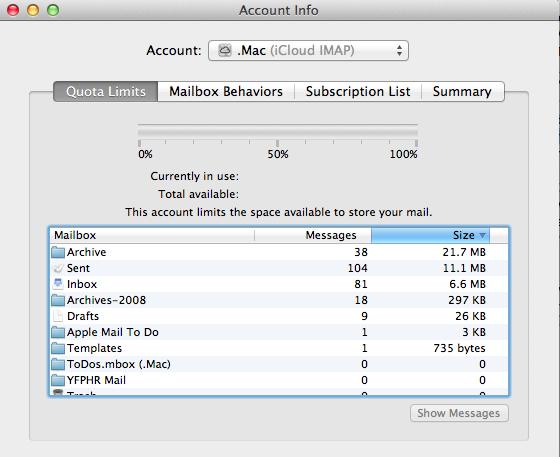 Account Info window