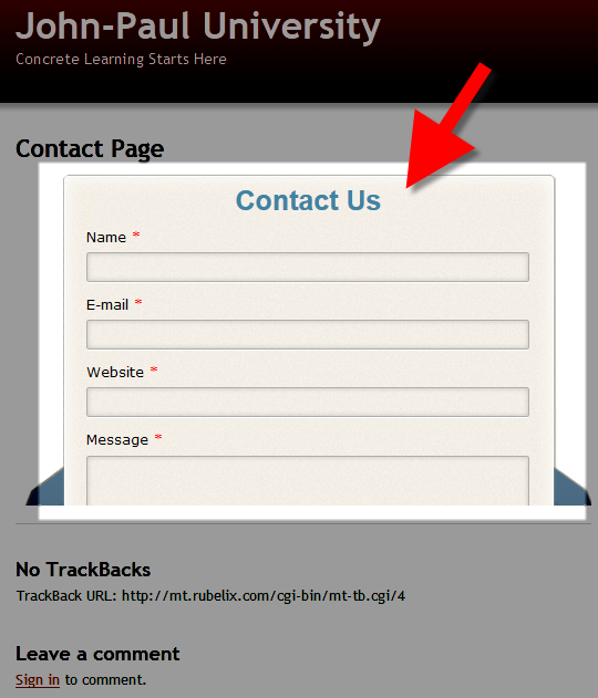 viewing the contact us form in movable type