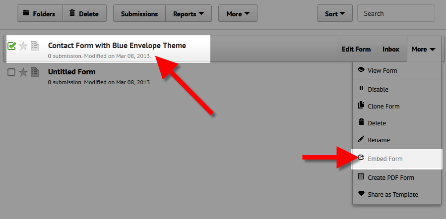 viewing the embed code for form