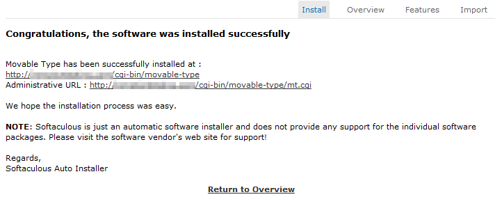 movable type successful installation message