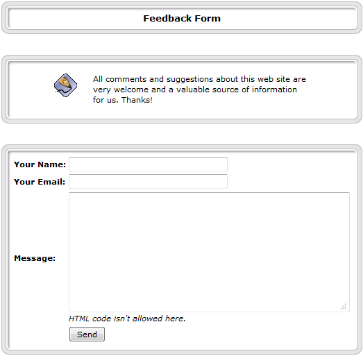 view of the PHP-Nuke feedback form