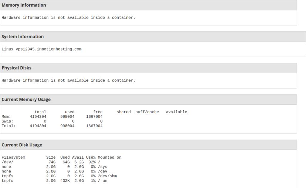 4GB VPS Server Information in WHM