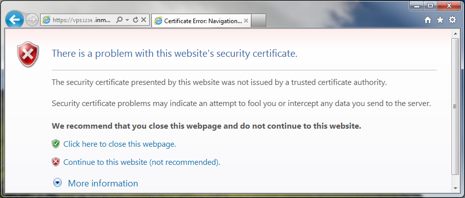 internet explorer self signed ssl warning