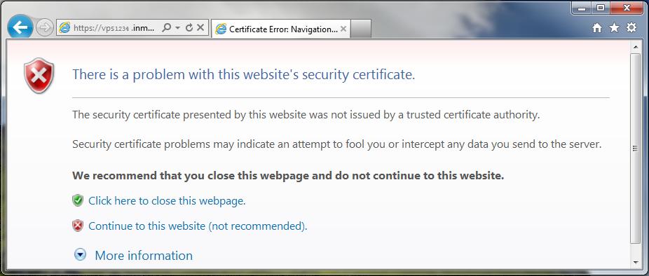 internet explorer self signed ssl warning